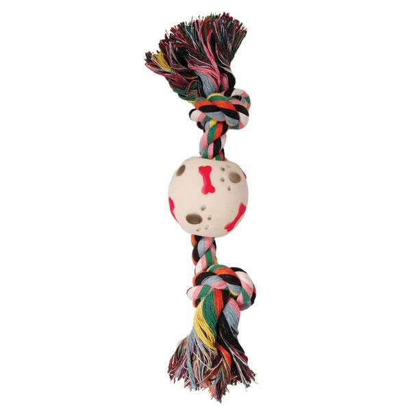 Триол Игрушка веревка цветная 16 см с двумя узлами и мячом, хлопок/винил, Triol