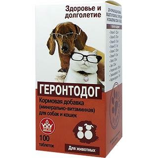 Минерально-витаминный комплекс Геронтодог для ослабленных, стареющих собак и кошек, 100 таблеток, Квант МКБ