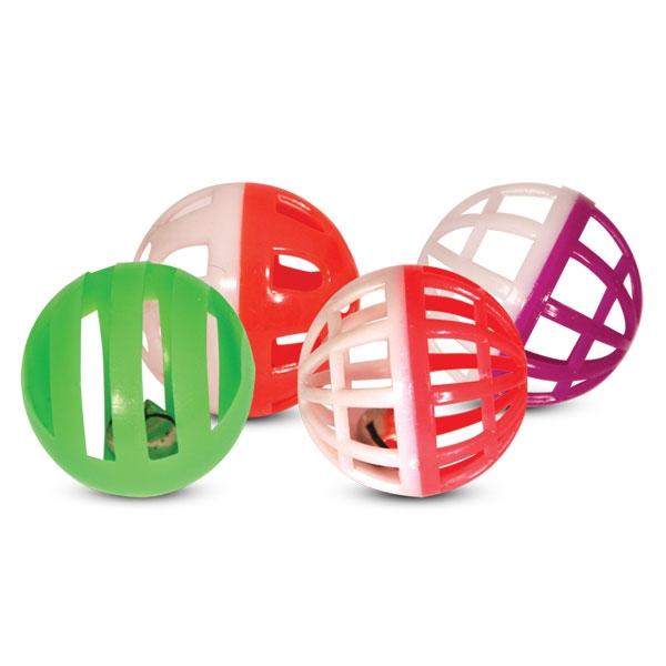 Триол Набор игрушек 4 пластиковых мяча (2 простых и 2 погремушки) для кошек, диаметр 4 см, Triol