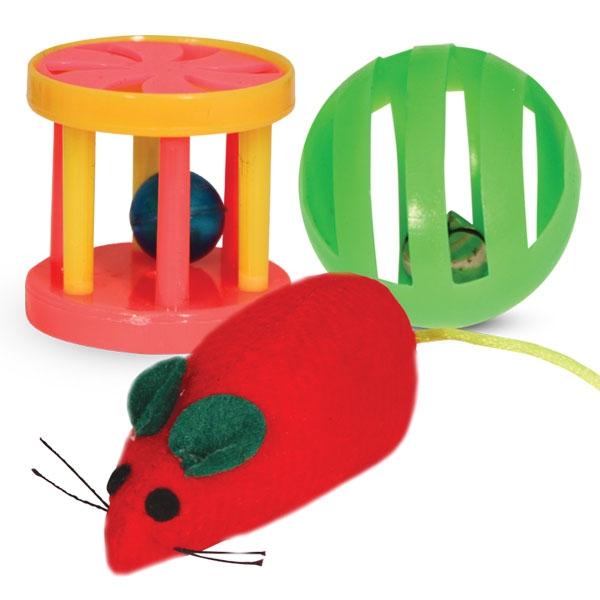 Триол Набор из трех игрушек (мышка, шар-погремушка, барабанчик), Triol