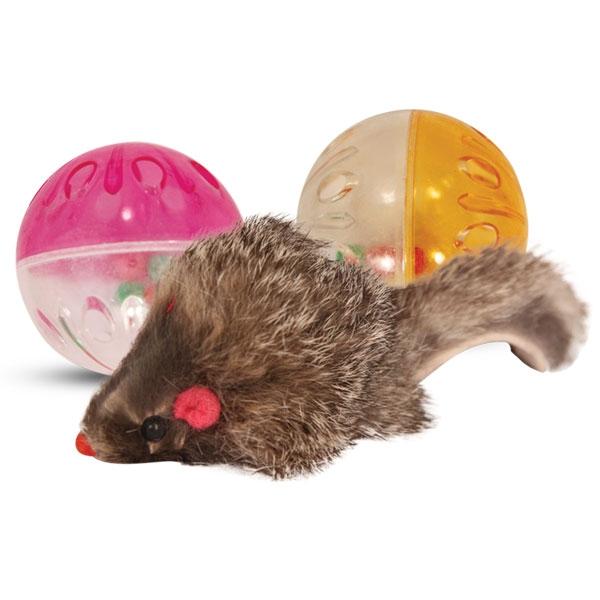 Триол Набор 2 мяча-погремушки 4,5 см, мышь тканевая 5,5 см, Triol