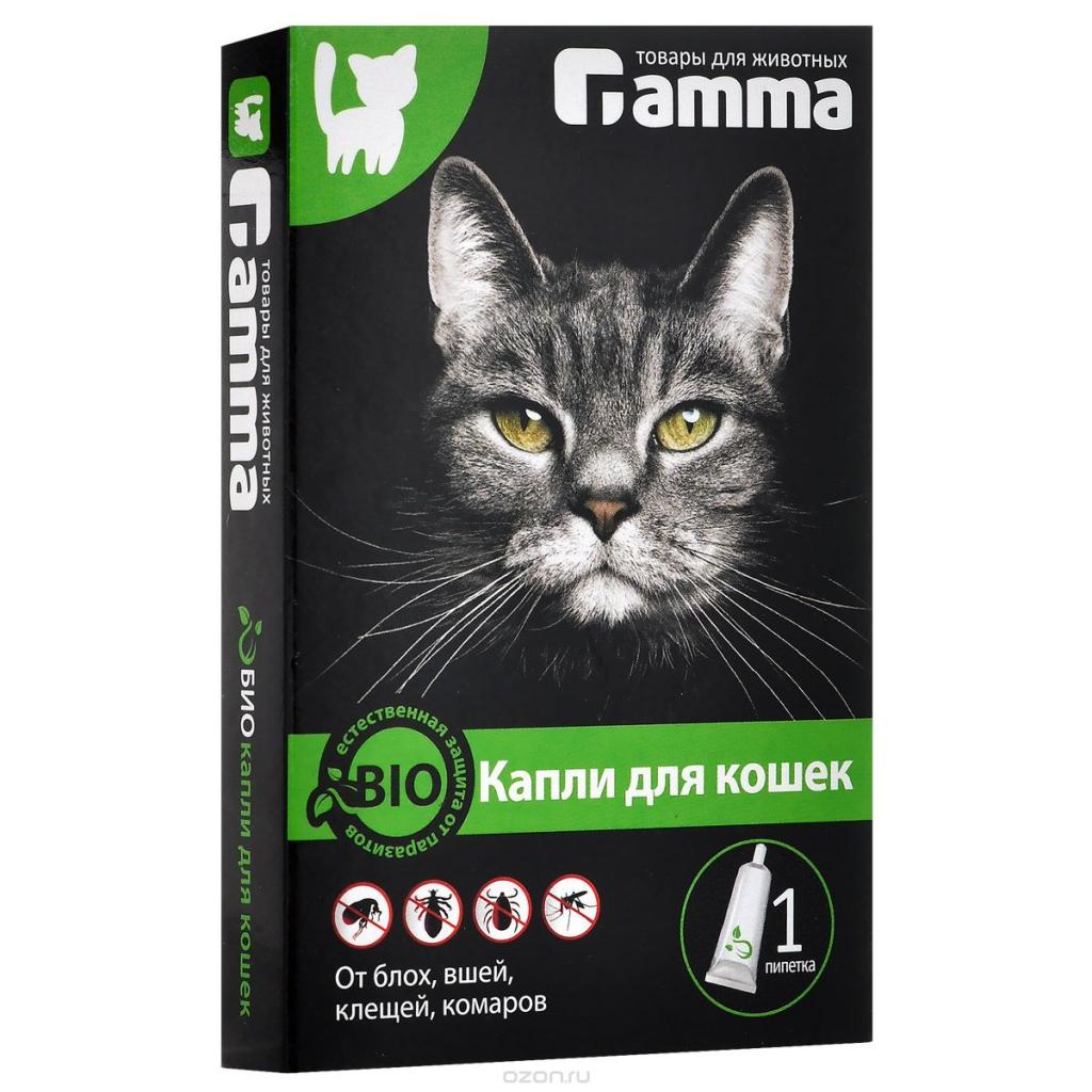 БиоКапли для кошек Гамма от блох, клещей, власоедов, комаров, 1 пипетка по 1 мл