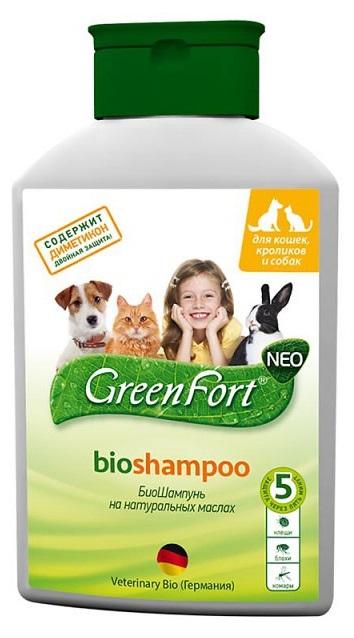 Грин Форт NEO БиоШампунь для взрослых кошек, собак, грызунов от блох, вшей, власоедов, комаров, иксодовых клещей, 400 мл, Green Fort