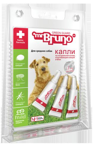 Мистер Бруно Капли репеллентные от блох и клещей для всех пород собак, 3 пипетки, Mr.Bruno