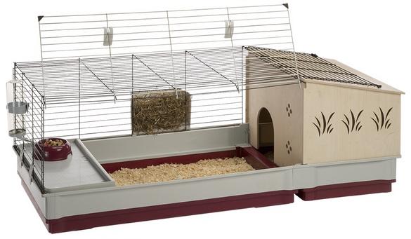 Ферпласт Клетка модульная для кроликов и морских свинок, ежей, Krolik 140 plus с закрытым домиком, 142*60*50 см, Ferplast