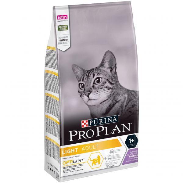 Корм Пурина Про План сухой Light облегченный для кошек с избыточным весом и склонных к полноте, с комплексом OPTILIGHT, Индейка, в ассортименте, Purina Pro Plan