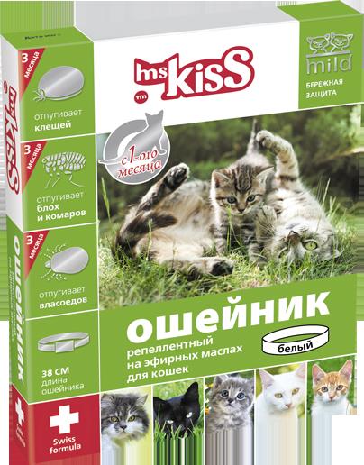 Миссис Кисс Ошейник антипаразитный от блох, клещей, власоедов, вшей, комаров для котят/кошек, 38 см, в ассортименте, Ms.Kiss