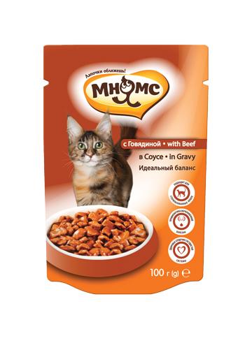 МНЯМС Паучи для взрослых кошек, кусочки в соусе, в ассортименте, 100 г