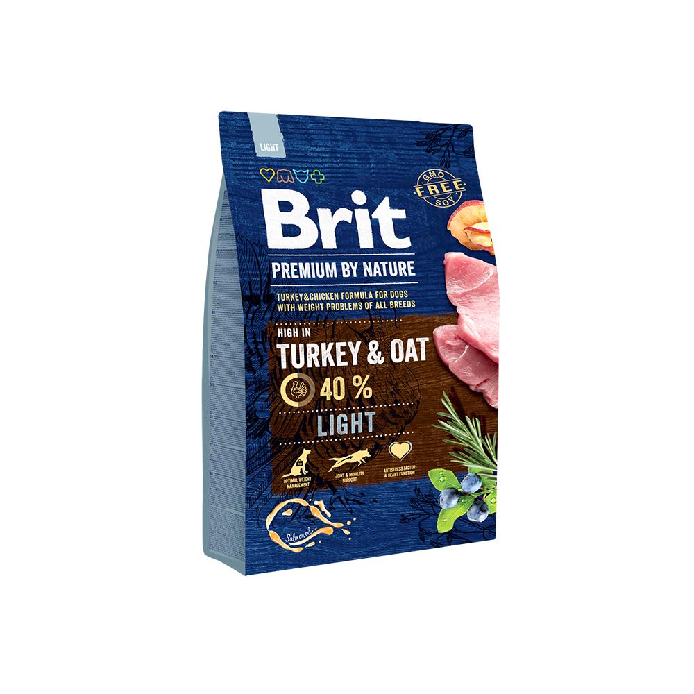 Брит Корм сухой Premium by Nature Light для взрослых собак с избыточным весом, Индейка/Овес, в ассортименте, Brit